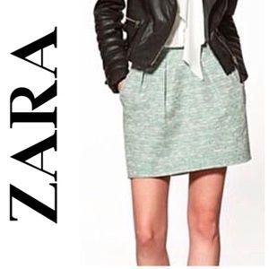 ZARA Green White Pleated Tweed Mini Skirt Pocket M